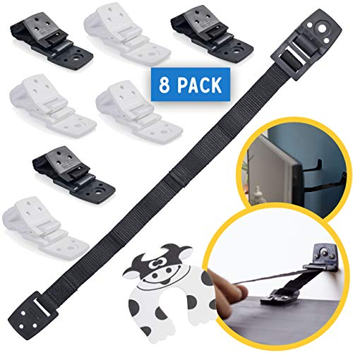 Bebe Earth - Furniture and TV Anti-Tip Straps (8-Pack) for Baby Proofing & Child Protection | Adjustable Wall Anchor Safety Kit | Secure Cabinets & Bookshelf from Falling - Black and White