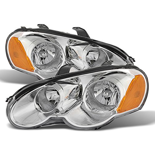 ACANII - For 2003-2005 Chrysler Sebring Coupe Chrome Headlights Headlamps Head Light Replacement Driver + Passenger Side