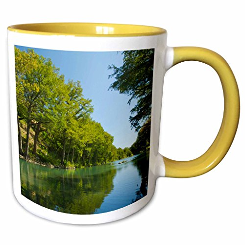 3dRose Danita Delimont - Rivers - Guadalupe River, Bald cypress, Gruene, Texas, USA - US44 LDI0936 - Larry Ditto - 11oz Two-Tone Yellow Mug - Cypress Texas Outlet