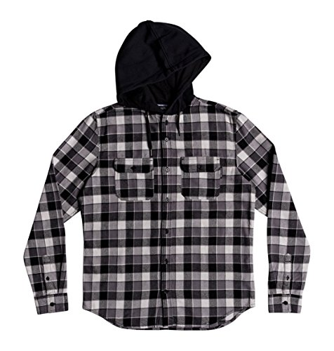 DC Shoes Boys Shoes Runnels - Long Sleeve Hooded Flannel Shirt - Boys 8-16 - 16 - Black Black 16/XL (Skate Shoes Flannel)