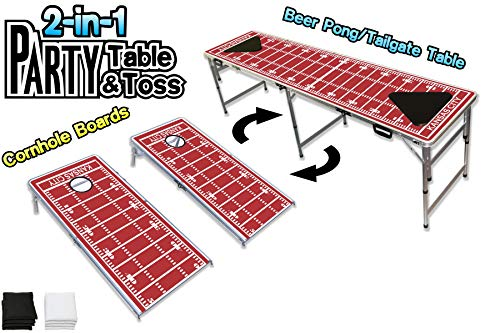 PartyPongTables.com 2-in-1 Kansas City Football Field 2-in-1 Cornhole Boards & Beer Pong Tailgate Table - Kansas City Football Field ()