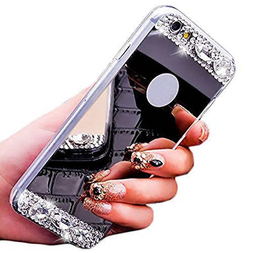 iPhone 6 Case ,LA GO GO(TM) Beauty Luxury Diamond Hybrid Glitter Bling Soft Shiny Sparkling with Glass Mirror Back Plate Cover Case for Apple iPhone 6 (4.7) - Retail Packaging (Gray)