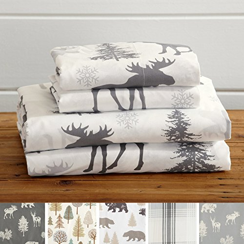 Great Bay Home 4-Piece Lodge Printed Ultra-Soft Microfiber Sheet Set. Beautiful Patterns Drawn from Nature, Comfortable, All-Season Bed Sheets. (King, Moose)