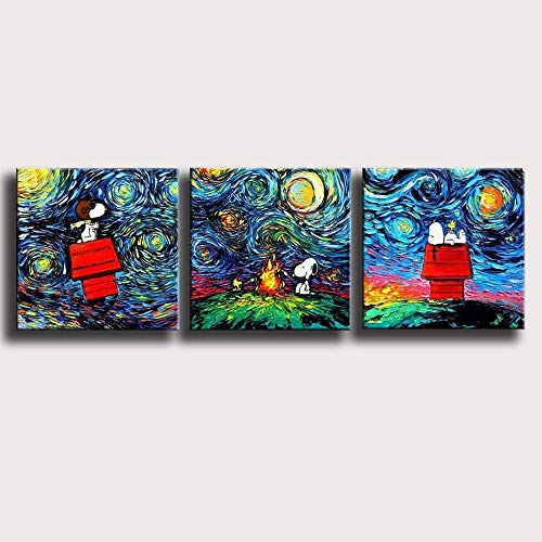 Zzjart HD Printed Oil Paintings Home Wall Decor Art on Canvas,Novel cm Snoopy van gogh 3PCS#521 (Framed)