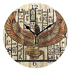 Akalidebaih Ancient Religion Egyptian Parchment Wall Clock Silent Non-Ticking Round Clock Art Painting Home Office School Decor-8.5inch,no Frame,Wall Mount and Table top