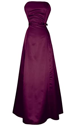 598f3dff083 50 s Strapless Satin Long Gown Bridesmaid Prom Dress Holiday Formal Junior Plus  Size