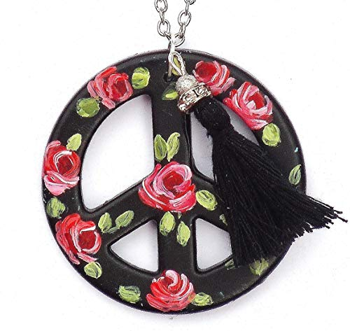 Large Black Peace Sign Pendant Long Silver Plated Boho Necklace with Painted Roses and Dangling Tassel ()