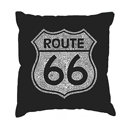LA Pop Art, Cities Along Route 66 - Pillow Cover Black]()