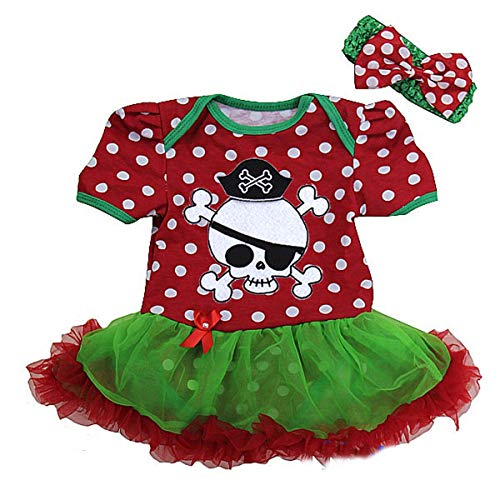 Ameda Baby Polka Dots Skull Pirate Costume Bodysuit Tutu Small Red Green