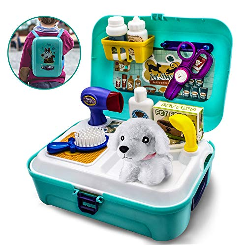 Pet Care Play Set,Pretend Educational Toys for Toddlers Children Tool Box Pet Store Puppy Grooming Playset 16 Pcs with Carrier