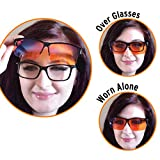Blue Light Blocking Glasses - Fits Over Reading Glasses - Sleep Better at Night - Orange Anti Glare Lens to Reduce Insomnia, Migraine, Eye Strain – Blue Filter Computer Glasses for Men, Women, Gaming