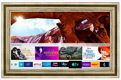 Framed Mirror TV with Samsung 43 inch 4K Ultra HD HDR Smart LED TV TVPlus. Gold Leaf Frame