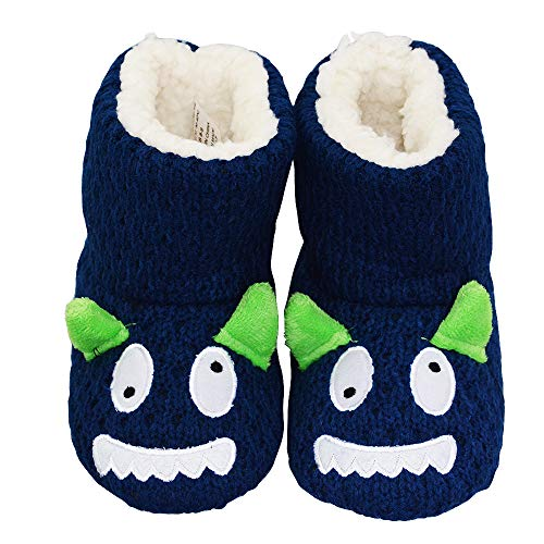 Boys Bootie Slippers (LA PLAGE Boys Indoor/Outdoor Comfortable Plush Knit Monster House Boot Slippers 6-7 US)