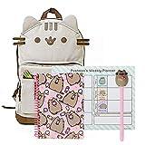 Pusheen The Cat Back to School Set - Pusheen Cat Face Backpack, Pusheen Spiral Ice Cream Treats Notebook Weekly Planner Pusheen Top Pen - Gift Student