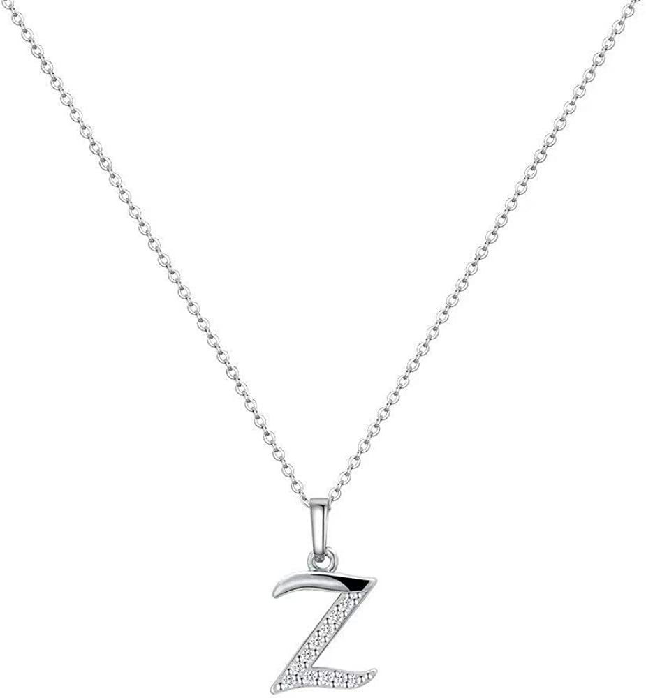 M MOOHAM 925 Sterling Silver Initial Necklace for Women White Gold Plated Letter Pendant Small Cubic Zirconia Initial Necklace for Women Girls Teens Dainty Tiny Alphabet Letter Necklace from A-Z