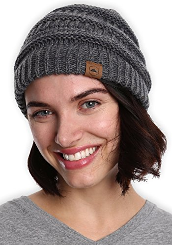 Tough Headwear Womens Beanie Winter Hat - Warm Chunky Cable Knit Hats - Soft Stretch Thick Cute Knitted Cap for Cold Weather