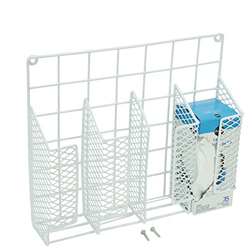 DecorRack Cabinet Door Mount Kitchen Storage Organizer Basket, Wrap Organizer Rack, Space Saving Drawer Grid Holder for Cleaning Supplies, Bottles, Steel with White Plastic - Foil Roll Standard Extra Aluminum