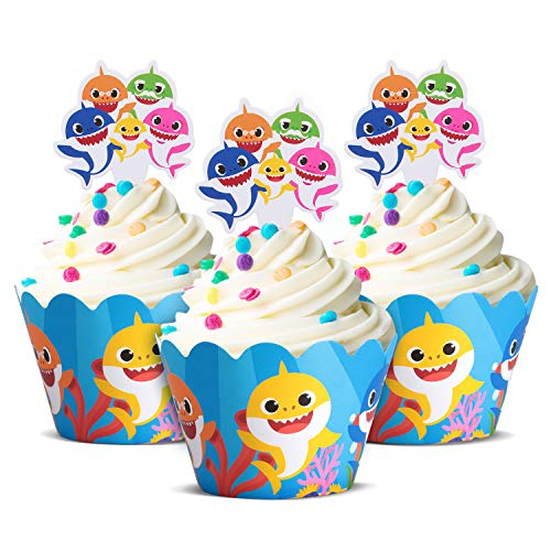 Cute Baby Shark Party Supplies - Cute Shark Cupcake Topper and Wrapper - Set of 24, Birthday Party Supplies, Baby Shark Cake Decoration