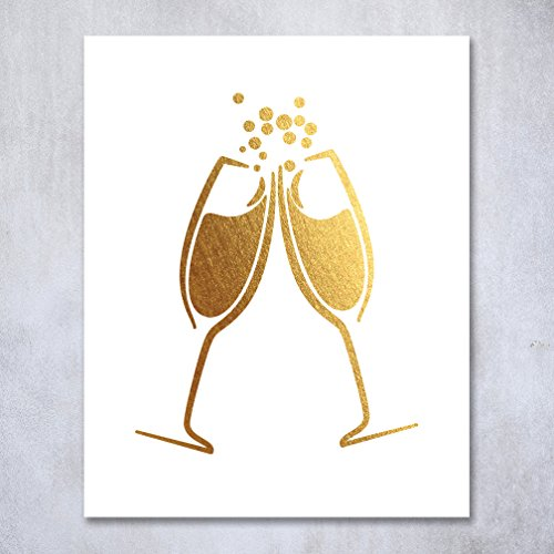 Champagne Toast Gold Foil Art Print Bar Cart Sign Wedding Reception Drinks Party Decor Clinking Flutes 8 inches x 10 inches A15