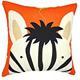 YOUR SMILE Zebra Square Decorative Throw Pillows Case Cushion Covers Shell Cotton Linen Blend 18 X 18 Inches (Orange)