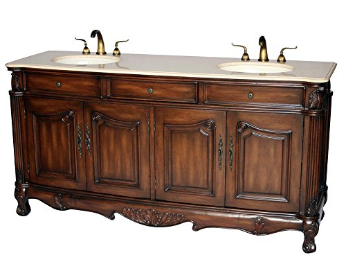 70-Inch Antique Style Double Sink Bathroom Vanity Model 3169A-BE by Chinese Arts, Inc