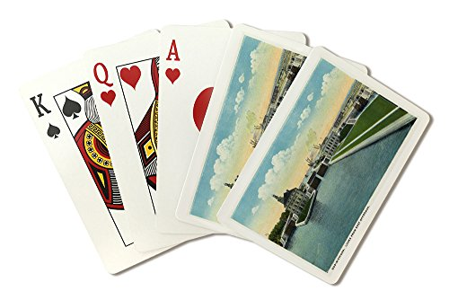 Sault Ste. Marie, Michigan - View of the Soo-Michigan Locks from the Eastern Approach (Playing Card Deck - 52 Card Poker Size with Jokers)