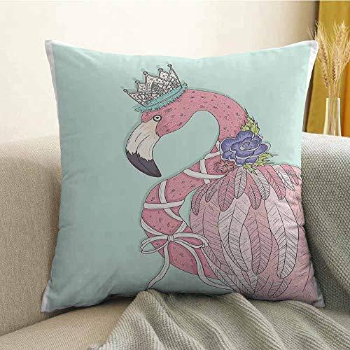 FreeKite Flamingo Pillowcase Hug Pillowcase Cushion Pillow Cute Flamingo Flower Crown Ribbon Fairytale Children Kids Artwork Anti-Wrinkle Fading Anti-fouling W20 x L20 Inch Baby Blue Pale Pink White