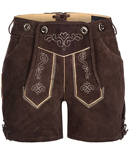 Tracht & Pracht - Damen 100% Wildleder - Trachtenlederhose Kurz Hotpants - Lederhose Dunkelbraun - 38