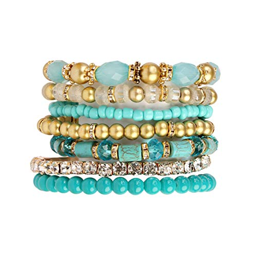 Stone Charm Multi (MYS Collection Bohemian Multi-Layer Beads Stretch Charm Stack Bracelet - Multi Strand Beaded Layering Slip-on Bangles Set (Metallic Mix - Turquoise))