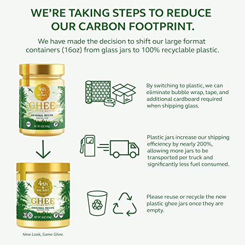 Original Grass-Fed Ghee by 4th & Heart, 16 Ounce, Keto, Pasture Raised, Non-GMO, Lactose Free, Certified Paleo 2