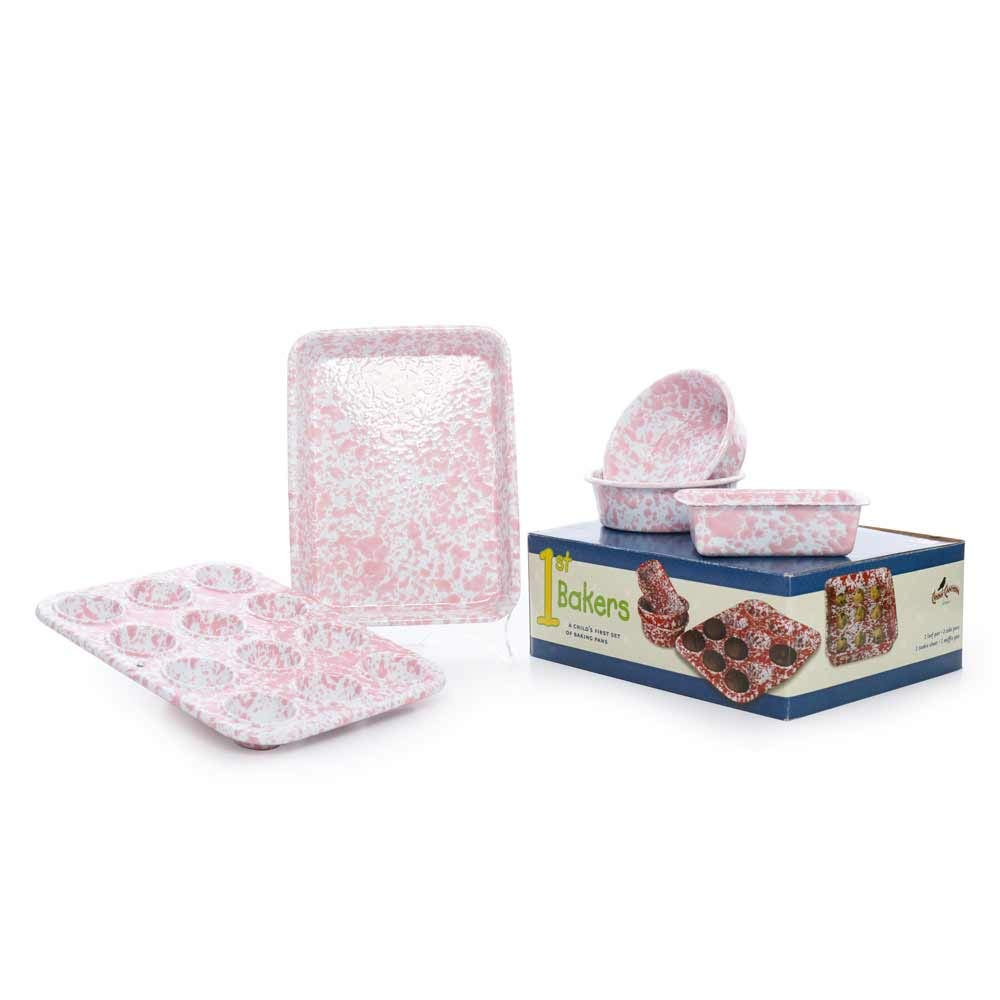 Crow Canyon Home Enamelware Children's First Bake Set, 5 pc, Pink & White Splatter by Crow Canyon Home (Image #2)