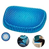 Breathable Pain Relief Seat Cushion with Non-Slip Cover Honeycomb Designed Egg Gel Sitter Support Cushion for Car Office Home Chairs