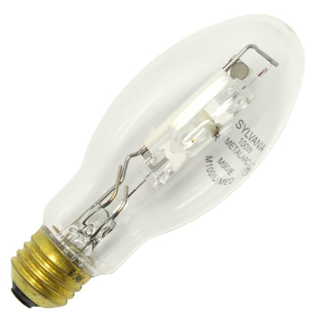 Sylvania 64818 (6-Pack) M100/U/MED 100-Watt Metal Halide HID Light Bulb, 4000K, 8500 Lumens, E26 Base