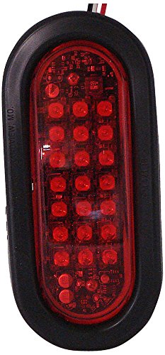 Red North American Signal Co North American Signal LEDO-R LED Grommet Mount Oval Warning Light