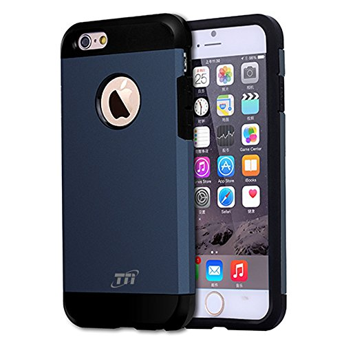 iPhone 6 Plus/iPhone 6s Plus Case, TNI Hybrid Dual Layers Protection Tough Armor Case with Air Cushion Technology for iPhone 6 Plus and iPhone 6s Plus – 2016 (Steel Blue)