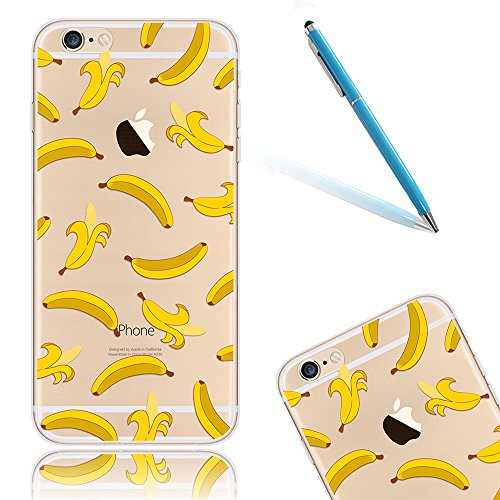 Funda para el iPhone 8, CLTPY iPhone 7 Carcasa Silicona Case con Creativo Dibujos Animados [Shock-Absorción] [Anti-Arañazos] Slim Caja para el Apple iPhone 7/8 + 1 x Stylus Libre - Flamencos Plátano