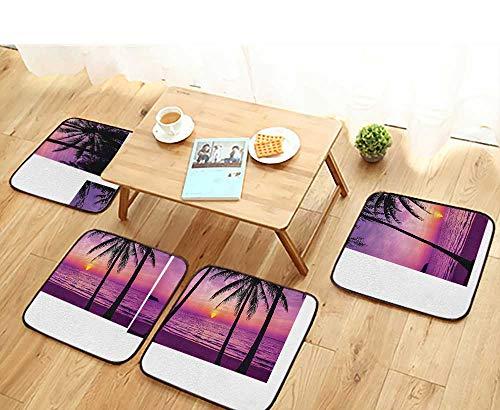 (Printsonne Elastic Cushions Chairs Palm Trees Silhouette SunDreamy Dusk WaTwilight for Living Rooms W29.5 x L29.5/4PCS Set)