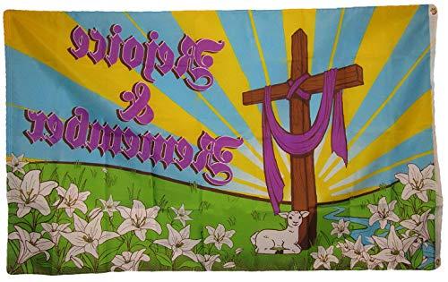 Hebel 3x5 Rejoice Remember Jesus Christ Religious Easter Holiday Flag 3x5 Grommets | Model FLG - 1832 ()