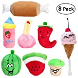 #1: UEETEK Pack of 8 Squeaky Dog Toys Pet Plush Chew Toys for Puppies Small Dogs
