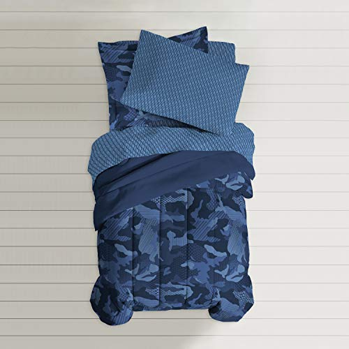 - Dream Factory Geo Camo Comforter Set, Twin, Blue