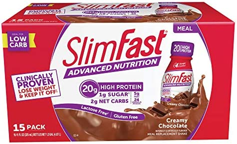 SlimFast Advanced Nutrition Creamy Milk Chocolate Meal Replacement 20g of Protein 11oz 15 Count
