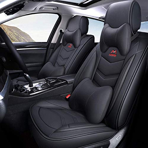 Lykaci Car Seat Covers Set Leather, Universal 5 Seats Seat Cushions for the front seats and rear seat Seats Seat cover with cushions (Color : Black):