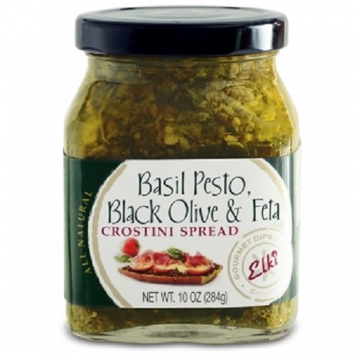 Elki's Gourmet Basil Pesto Kalamata Olive and Feta Crostini Spread, 10 Ounce