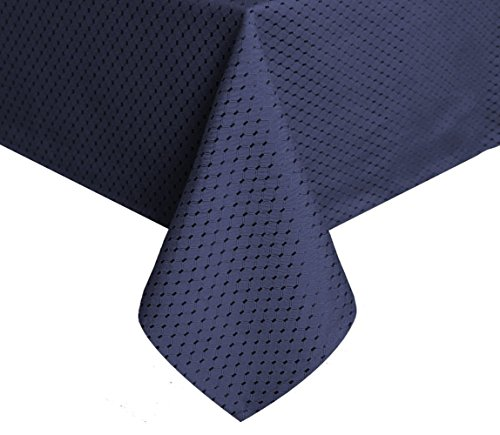 Tektrum Heavy Duty 70 X 70 inch Square Elegant Waffle Weave Check Jacquard Tablecloth Table Cover -Waterproof/Stain Resistant/Wrinkle Free - Great for Dinner, Banquet, Parties (70 x 70, Navy Blue)