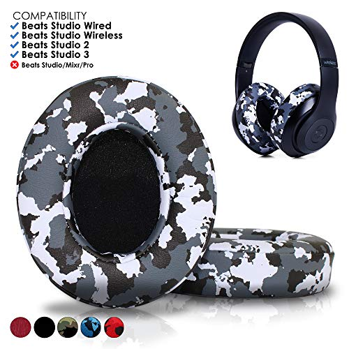 Beats Replacement Ear Pads by Wicked Cushions - Compatible with Studio 2.0 Wired/Wireless and Studio 3 Over Ear Headphones by Dr. DRE ONLY (Does NOT FIT Solo) | Snow Camo ()