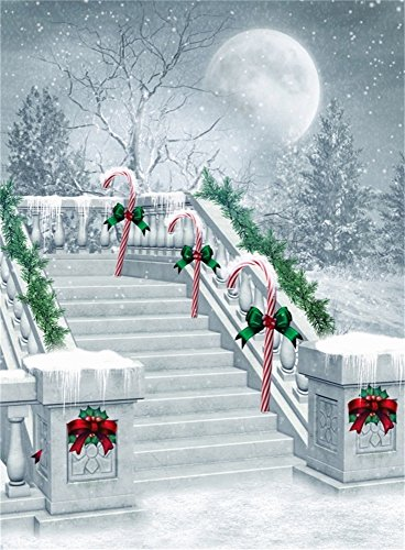 Leowefowa 5X7FT Christmas Backdrop Candy Cane Bowknot Pine Twig Shining Moon Forest Snowing Outdoor Winter Scene Stone Stair Happy Year Vinyl Photography Background Kids Adults Photo Studio Props