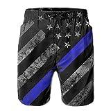 ETAboar Thin Blue Line American Flag Men's Board Shorts Beach Swim Shorts Surf Board Beach Home Shorts