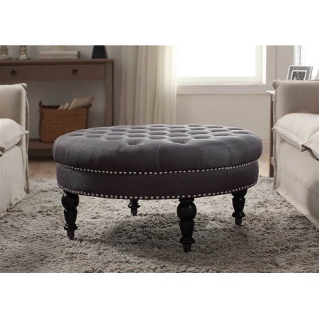 Linon Isabelle Round Tufted Ottoman Gray by Linon