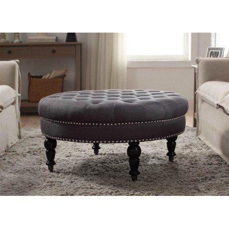 Linon Isabelle Round Tufted Ottoman Gray