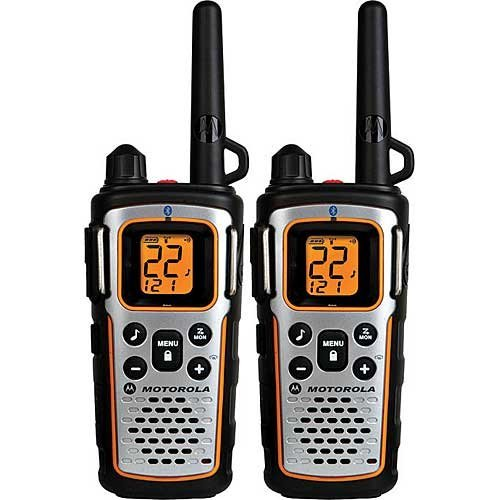 - Motorola FRS TalkAbout Two Way Radios, Bluetooth Compatible Radio, NOAA Weather Alert Channels, Weatherproof IP54 Rating, and Total Emergency Preparedness, Silent Vibra Call, iVox Hands Free Communicating, Belt Clips, Y Cable Charging Adapter with Dual Mini-USB Connectors Included